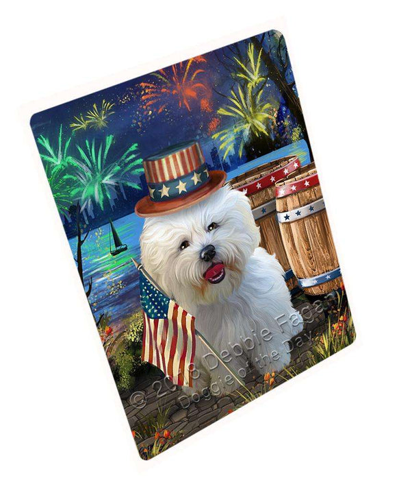 "4th Of July Independence Day Fireworks Bichon Frise Dog At The Lake Magnet Mini (3.5"" x 2"") MAG56808"