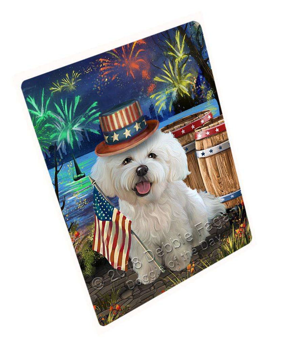 "4th Of July Independence Day Fireworks Bichon Frise Dog At The Lake Magnet Mini (3.5"" x 2"") MAG56817"