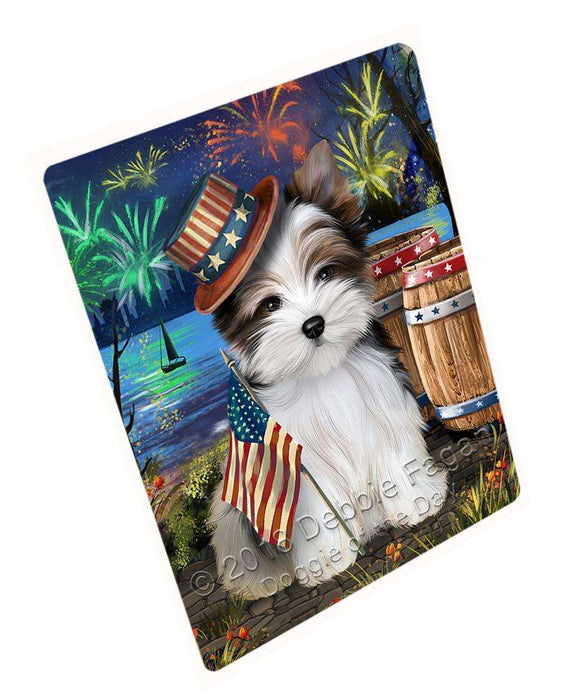 "4th Of July Independence Day Fireworks Biewer Terrier Dog At The Lake Magnet Mini (3.5"" x 2"") MAG57306"