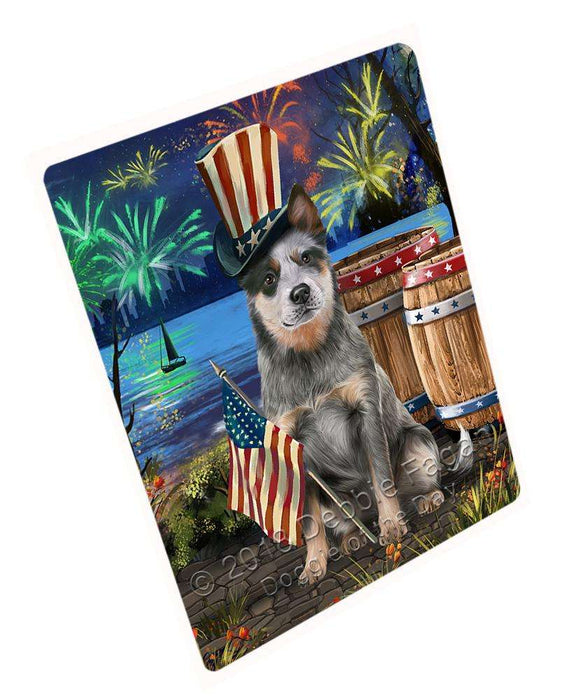 "4th Of July Independence Day Fireworks Blue Heeler Dog At The Lake Magnet Mini (3.5"" x 2"") MAG57333"