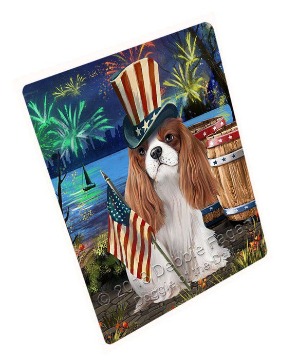 "4th Of July Independence Day Fireworks Cavalier King Charles Spaniel Dog At The Lake Magnet Mini (3.5"" x 2"") MAG56892"