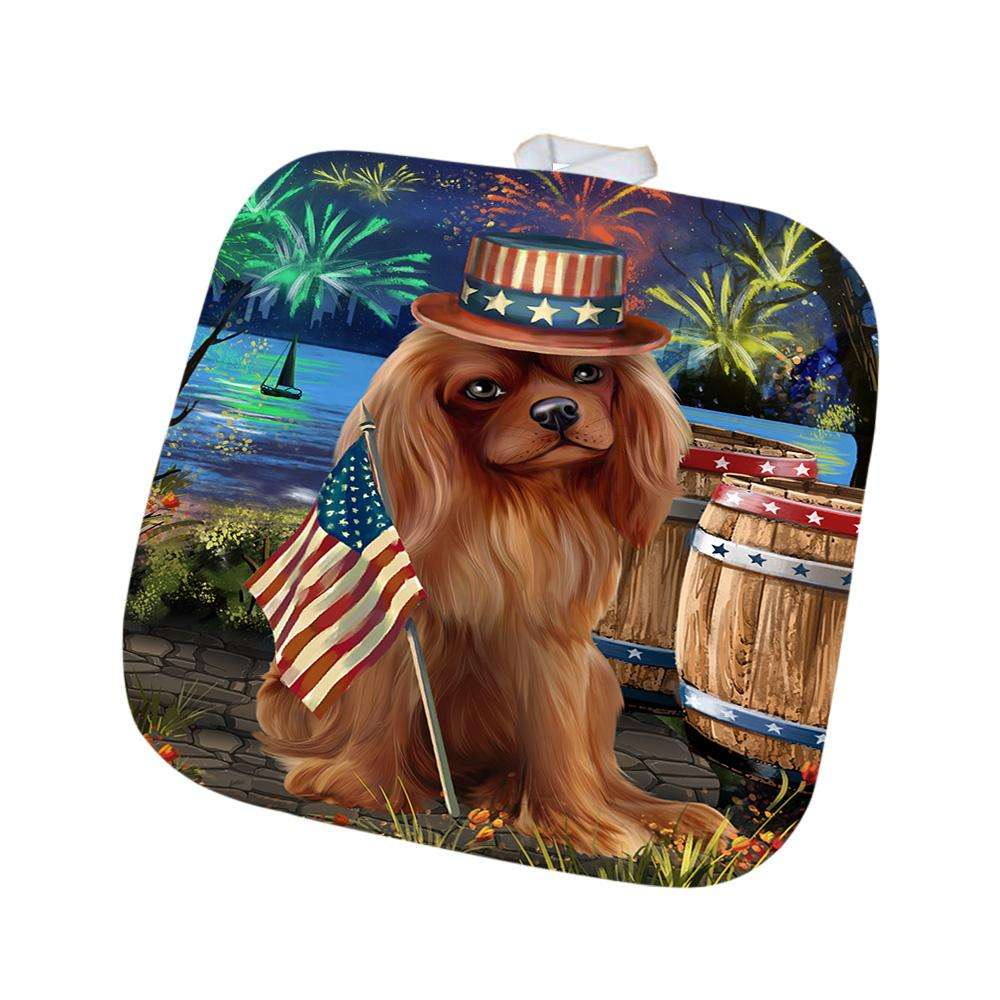 4th of July Independence Day Fireworks Cavalier King Charles Spaniel Dog at the Lake Pot Holder POT50944