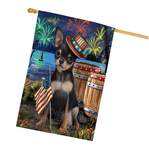 4th of July Independence Day Fireworks Chihuahua Dog at the Lake House Flag FLG51179