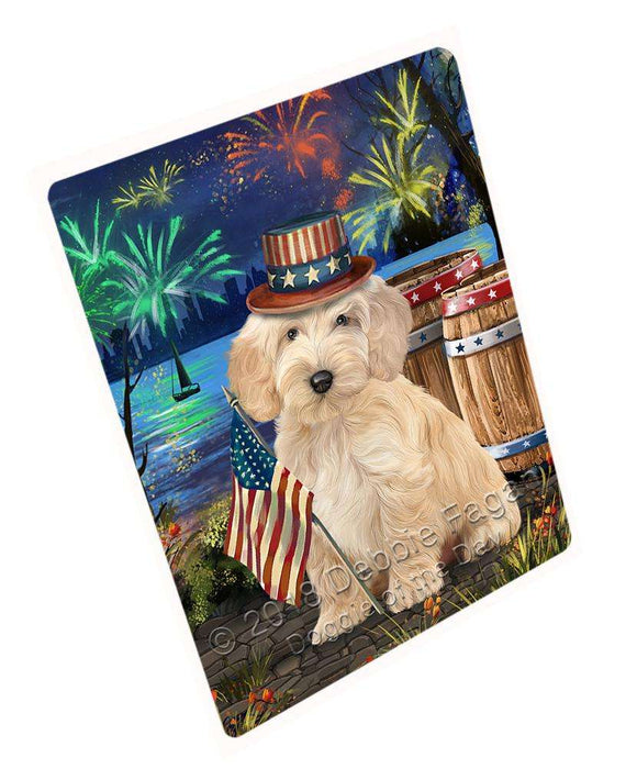 "4th Of July Independence Day Fireworks Cockapoo Dog At The Lake Magnet Mini (3.5"" x 2"") MAG57420"