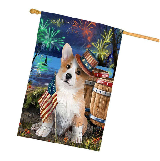 4th of July Independence Day Fireworks Corgi Dog at the Lake House Flag FLG51199