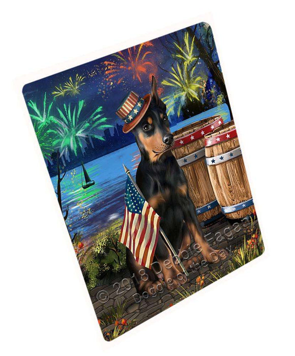 "4th Of July Independence Day Fireworks Doberman Pinscher Dog At The Lake Magnet Mini (3.5"" x 2"") MAG57471"