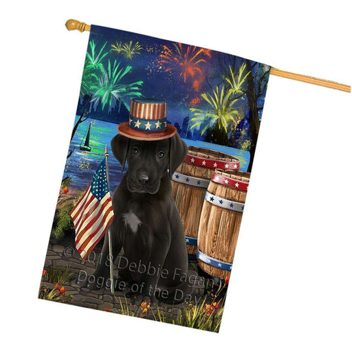 4th of July Independence Day Fireworks  Great Dane Dog at the Lake House Flag FLG51033