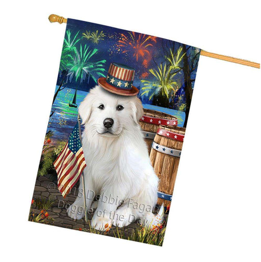 4th of July Independence Day Fireworks Great Pyrenee Dog at the Lake House Flag FLG51219