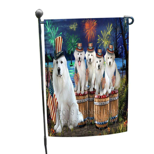 4th of July Independence Day Fireworks Great Pyrenees at the Lake Garden Flag GFLG50958