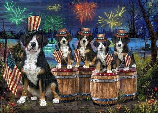 4th of July Independence Day Fireworks Greater Swiss Mountain Dogs at the Lake Puzzle with Photo Tin PUZL56973
