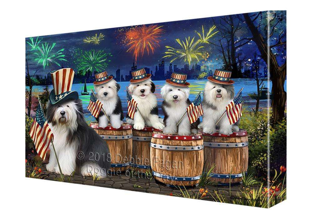 4th of July Independence Day Fireworks Old English Sheepdogs at the Lake Canvas Print Wall Art Décor CVS75986