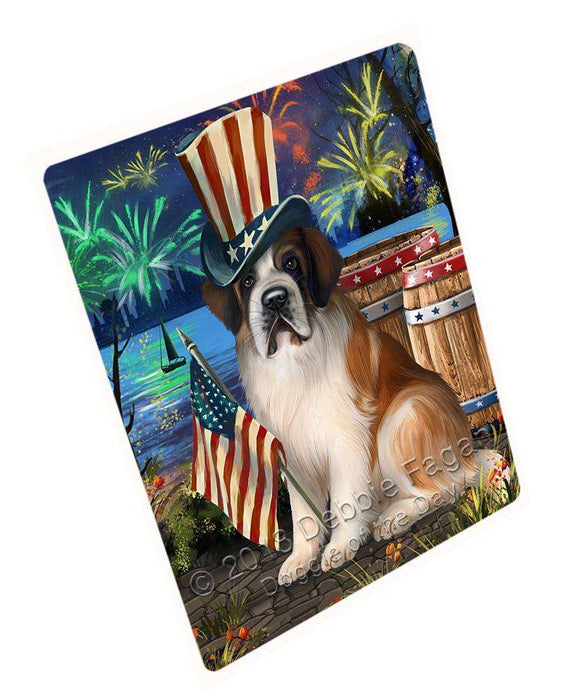 "4th Of July Independence Day Fireworks Saint Bernard Dog At The Lake Magnet Mini (3.5"" x 2"") MAG57012"