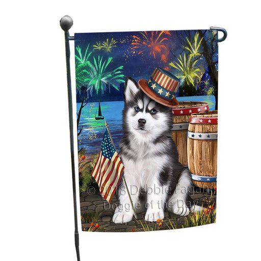 4th of July Independence Day Fireworks  Siberian Husky Dog at the Lake Garden Flag GFLG50919
