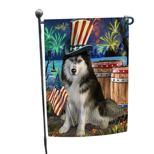 4th of July Independence Day Fireworks  Siberian Husky Dog at the Lake Garden Flag GFLG50920