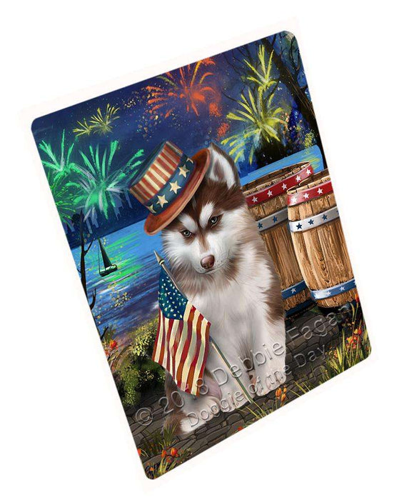 "4th Of July Independence Day Fireworks Siberian Husky Dog At The Lake Magnet Mini (3.5"" x 2"") MAG57021"