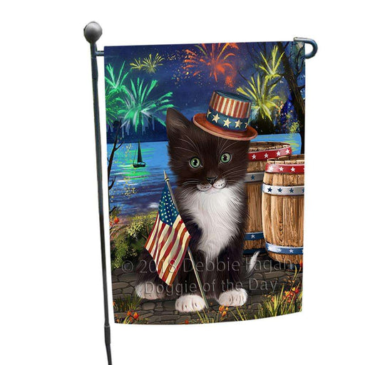 4th of July Independence Day Fireworks Tuxedo Cat at the Lake Garden Flag GFLG51166