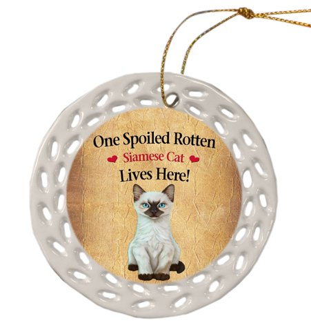 Siamese Kitten Christmas Doily Ceramic Ornament