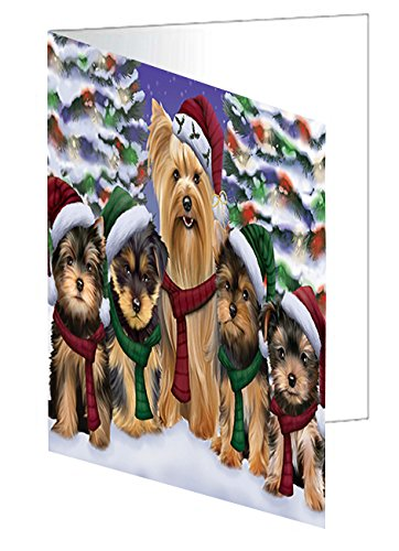 Yorkshire Terriers Dog Christmas Family Portrait in Holiday Scenic Background Greeting Card
