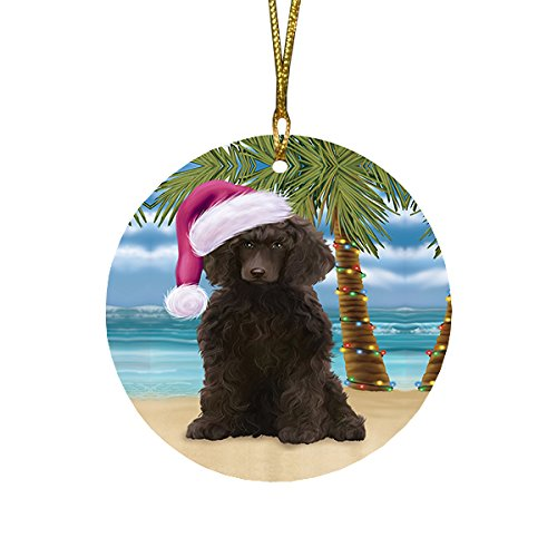 Summertime Poodle Dog on Beach Christmas Round Flat Ornament POR1757