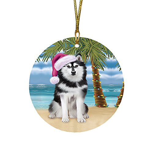 Summertime Husky Dog on Beach Christmas Round Flat Ornament POR1683