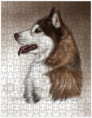 Siberian Husky Dog Art Portrait Print 252 Pc. Puzzle with Photo Tin