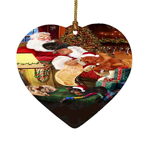 Tibetan Mastiff Dog and Puppies Sleeping with Santa Heart Christmas Ornament