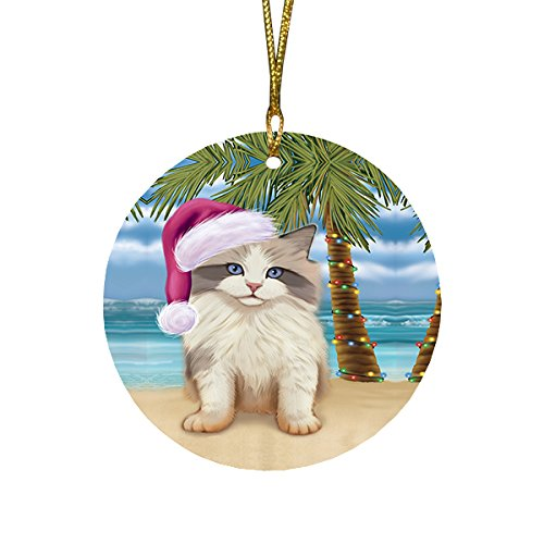 Summertime Ragdoll Kitten on Beach Christmas Round Flat Ornament POR1768