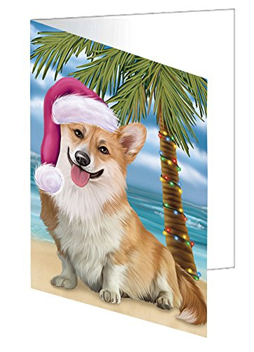 Summertime Happy Holidays Christmas Corgi Dog on Tropical Island Beach Greeting Card D406