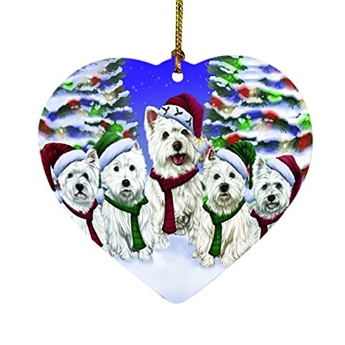 West Highland Terriers Dog Christmas Family Portrait in Holiday Scenic Background Heart Ornament D152