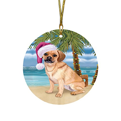 Summertime Puggle Dog on Beach Christmas Round Flat Ornament POR1760