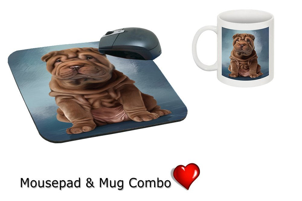 Shar Pei Dog Mug & Mousepad Combo Gift Set