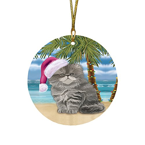Summertime Persian Cat on Beach Christmas Round Flat Ornament POR1711