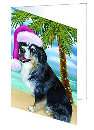 Summertime Christmas Australian Shepherd Dog on Beach Greeting Card