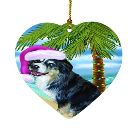 Summertime Happy Holidays Christmas Australian Shepherd Dog on Tropical Island Beach Heart Ornament D417