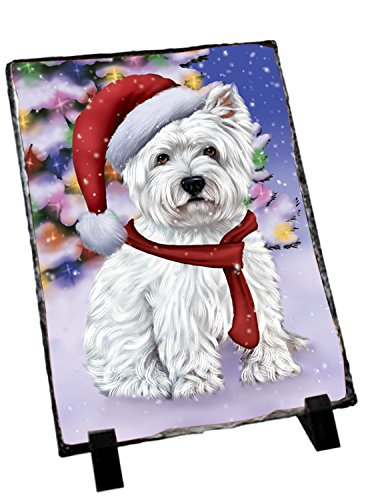 Winterland Wonderland West Highland Terriers Puppy Dog In Christmas Holiday Scenic Background Photo Slate