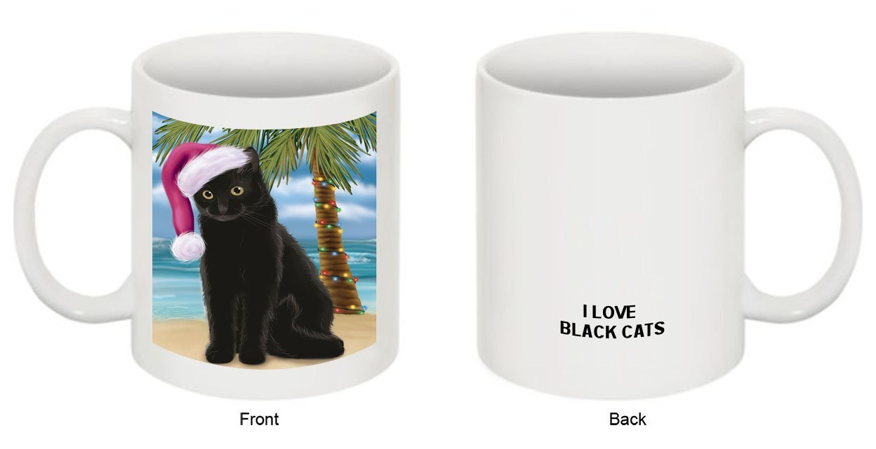 Summertime Black Cat on Beach Christmas Mug CMG0546