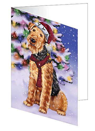 Winterland Wonderland Airedales Dog In Christmas Holiday Scenic Background Note Card