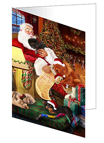 Tibetan Mastiff Dog and Puppies Sleeping with Santa Greeting Card