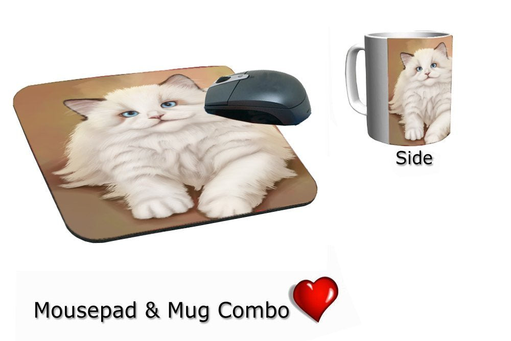 White Ragdoll Cat Mug & Mousepad Combo Gift Set