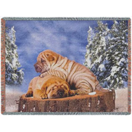 Shar Pei Winter Woven Throw Blanket 54 x 38