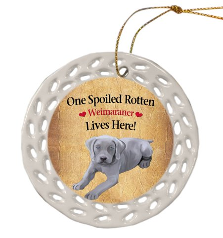 Weimaraner Dog Christmas Doily Ceramic Ornament