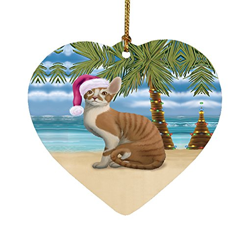 Summertime Cornish Rex Cat on Beach Christmas Heart Ornament POR2207