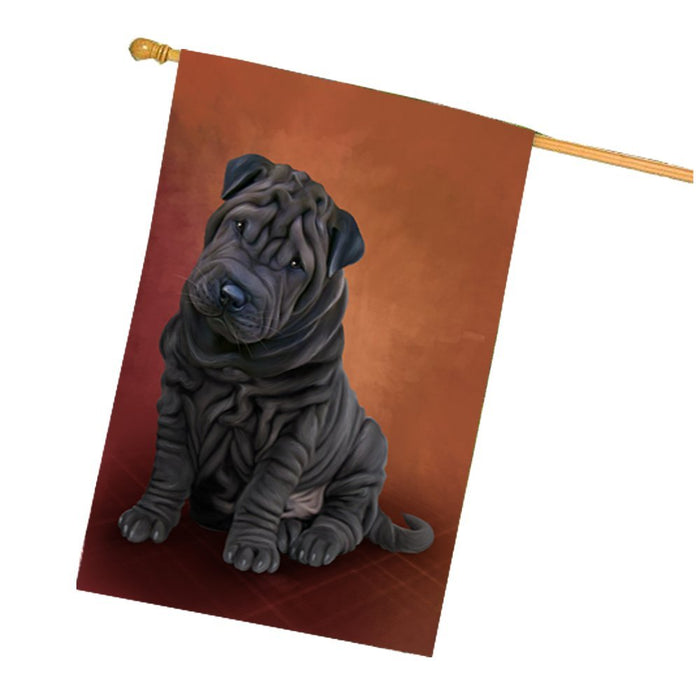 Shar Pei Dog House Flag