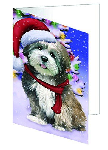 Winterland Wonderland Lhasa Apso Dog In Christmas Holiday Scenic Background Greeting Card