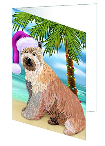Summertime Happy Holidays Christmas Berger Picard Dog on Tropical Island Beach Greeting Card