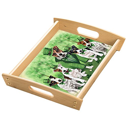 St. Patricks Day Irish Family Portrait Jack Russell Terriers Dog Wood Serving Tray with Handles Natural TRA48194