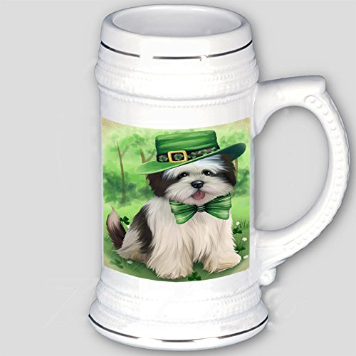 St. Patricks Day Irish Portrait Lhasa Apso Dog Beer Stein BST480695