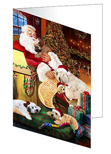 Wheaten Terriers Dog and Puppies Sleeping with Santa Greeting Card
