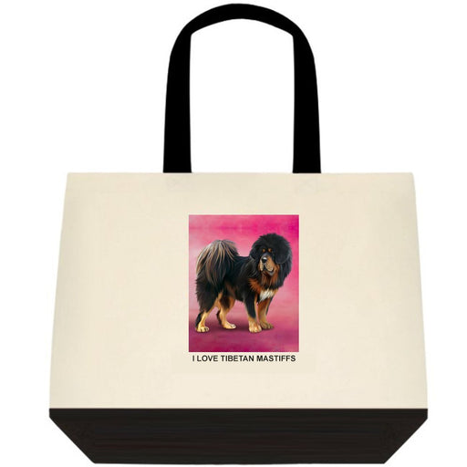 Tibetan Mastiff Dog Two-Tone Deluxe Classic Cotton Tote Bags