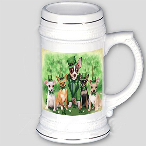 St. Patricks Day Irish Family Portrait Chihuahuas Dog Beer Stein BST480640